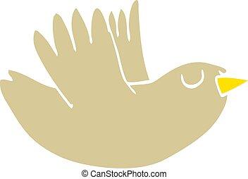 flat color illustration cartoon flying bird