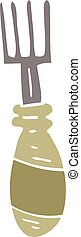 flat color illustration cartoon fork