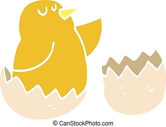 flat color illustration cartoon hatching bird
