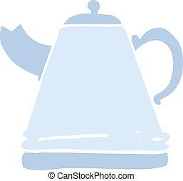 flat color illustration cartoon kettle