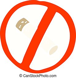 flat color illustration cartoon no smoking sign