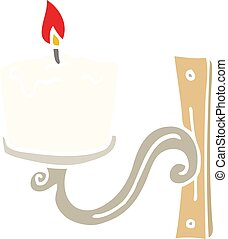 flat color illustration cartoon old candle holder