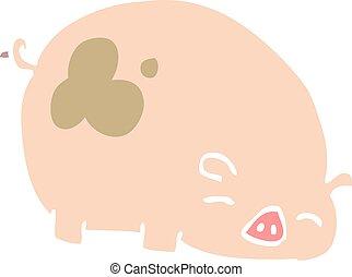 flat color illustration cartoon pig