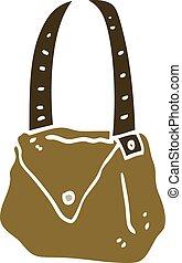 flat color illustration cartoon satchel