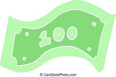 flat color illustration of a cartoon 100 dollar bill