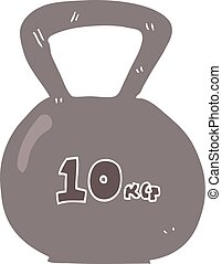 flat color illustration of a cartoon 10kg kettle bell weight...