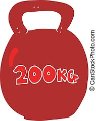 flat color illustration of a cartoon 20kg kettle bell - flat...