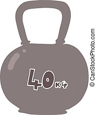 flat color illustration of a cartoon 40kg kettle bell weight...