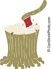 flat color illustration of a cartoon axe in tree stump