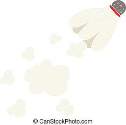 flat color illustration of a cartoon badminton shuttlecock