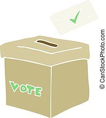flat color illustration of a cartoon ballot box