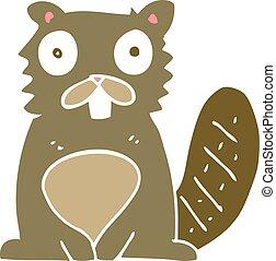 flat color illustration of a cartoon beaver