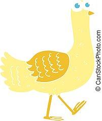 flat color illustration of a cartoon bird