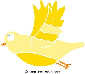 flat color illustration of a cartoon bird flying