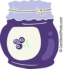 flat color illustration of a cartoon blueberry jam