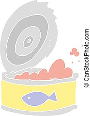 flat color illustration of a cartoon can of tuna