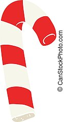 flat color illustration of a cartoon candy cane