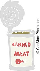 flat color illustration of a cartoon canned meat - flat...