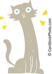 flat color illustration of a cartoon cat