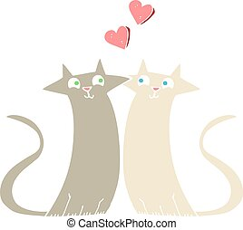 flat color illustration of a cartoon cats in love