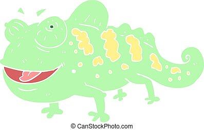 flat color illustration of a cartoon chameleon