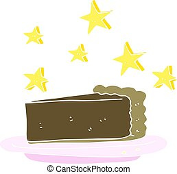 flat color illustration of a cartoon chocolate cake
