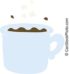 flat color illustration of a cartoon coffee cup