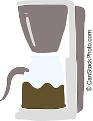 flat color illustration of a cartoon coffee maker