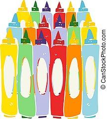 flat color illustration of a cartoon crayons