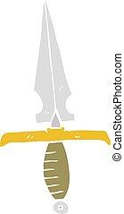 flat color illustration of a cartoon dagger