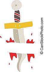 flat color illustration of a cartoon dagger tattoo