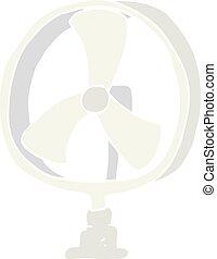 flat color illustration of a cartoon desk fan