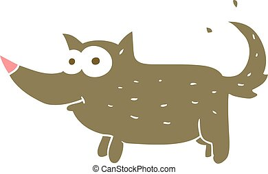 flat color illustration of a cartoon dog wagging tail - flat...