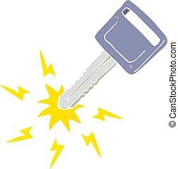 flat color illustration of a cartoon electric car key