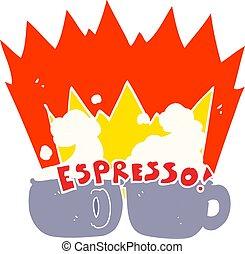 flat color illustration of a cartoon espresso