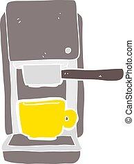 flat color illustration of a cartoon espresso maker