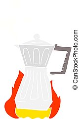 flat color illustration of a cartoon espresso stovetop maker