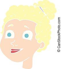 flat color illustration of a cartoon female face
