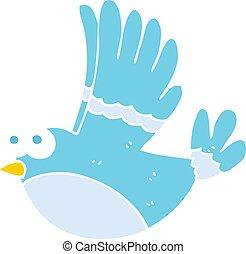 flat color illustration of a cartoon flying bird