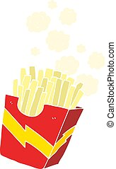 flat color illustration of a cartoon french fries