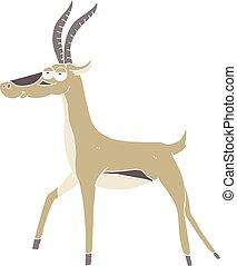 flat color illustration of a cartoon gazelle - flat color...