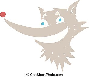 flat color illustration of a cartoon grinning wolf face
