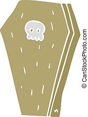 flat color illustration of a cartoon halloween coffin - flat...