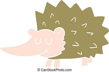 flat color illustration of a cartoon hedgehog