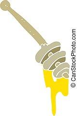 flat color illustration of a cartoon honey dipper - flat...
