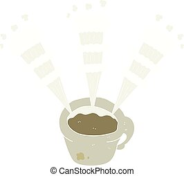 flat color illustration of a cartoon hot coffee mug