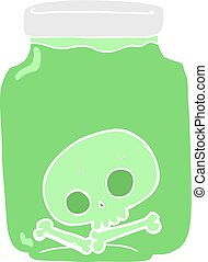flat color illustration of a cartoon jar with skull