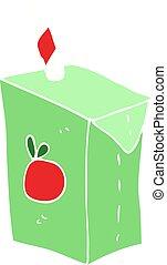 flat color illustration of a cartoon juice box - flat color ...