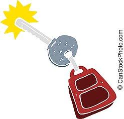 flat color illustration of a cartoon key