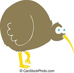 flat color illustration of a cartoon kiwi bird
